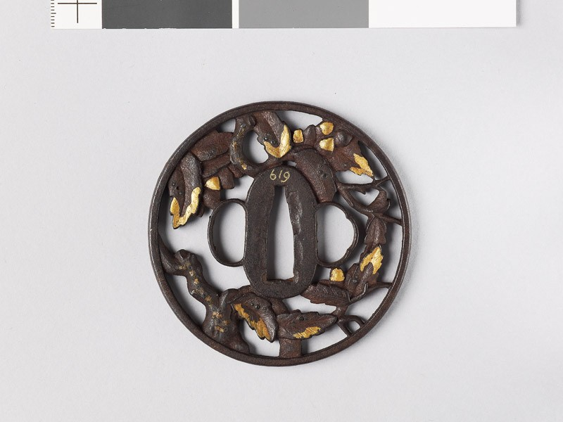 Round tsuba with oak branches (EAX.10774, front           )