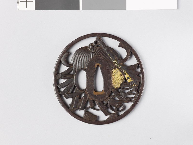 Tsuba with a saihai, or general's baton (EAX.10777, front           )