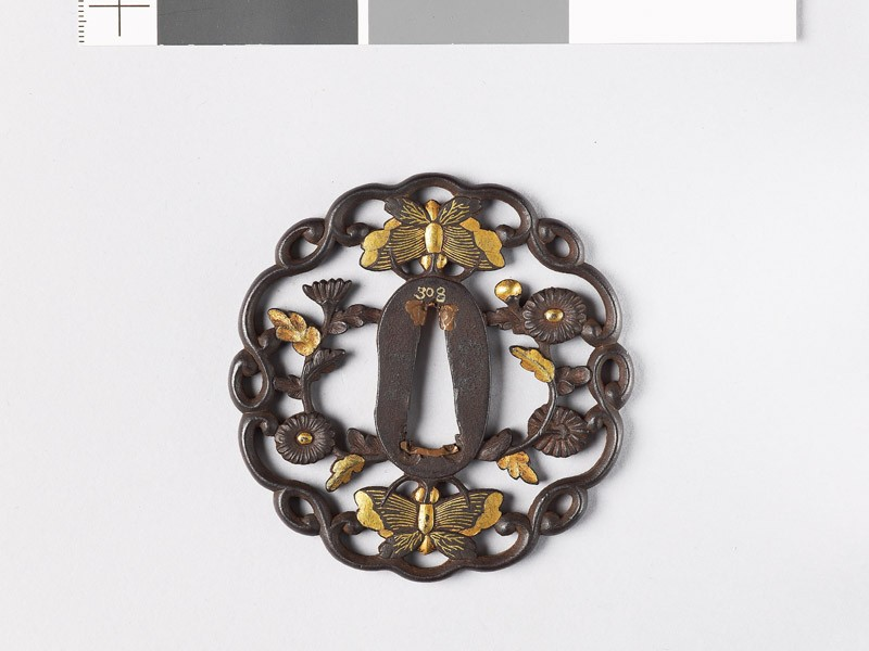 Tsuba with butterflies and aster