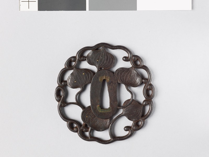 Tsuba with dewdrops on aoi, or wild ginger