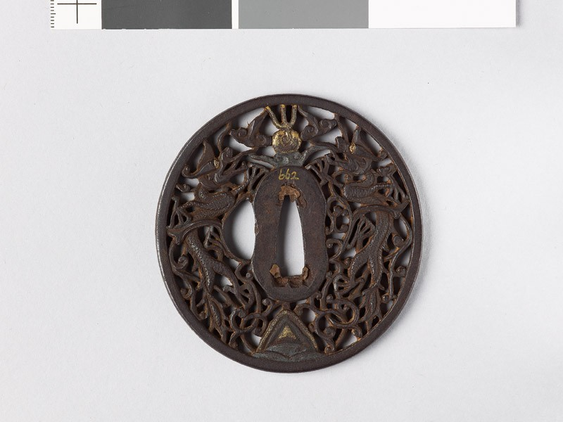 Tsuba with dragons and karakusa, or scrolling plant pattern (EAX.10794, front           )