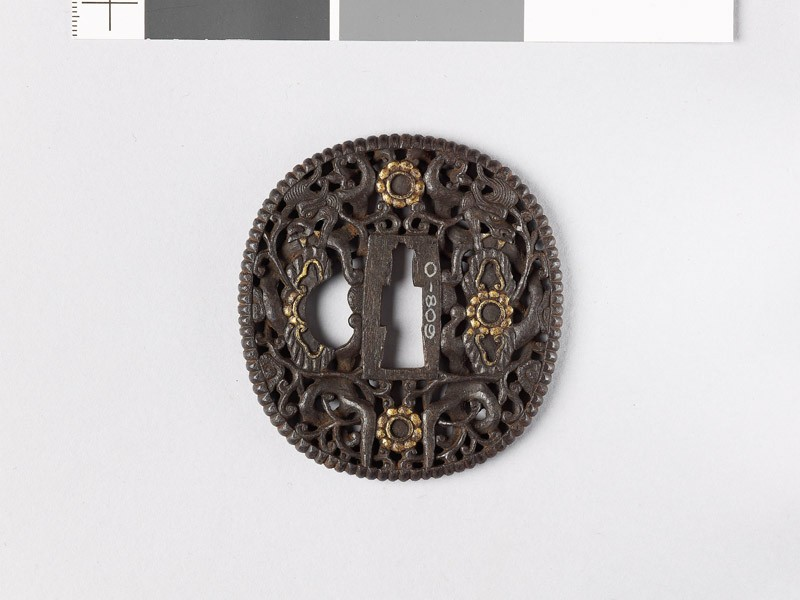 Tsuba with dragons amid scrollwork