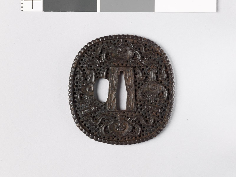 Tsuba with Precious Objects and clouds (EAX.10812, front           )