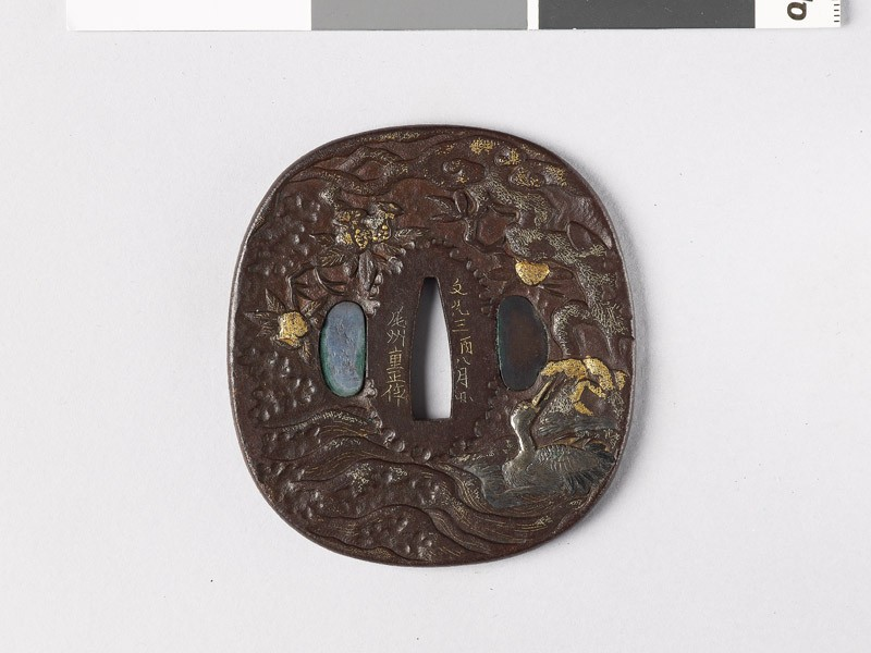 Tsuba depicting a swimming crane (EAX.10840, front           )