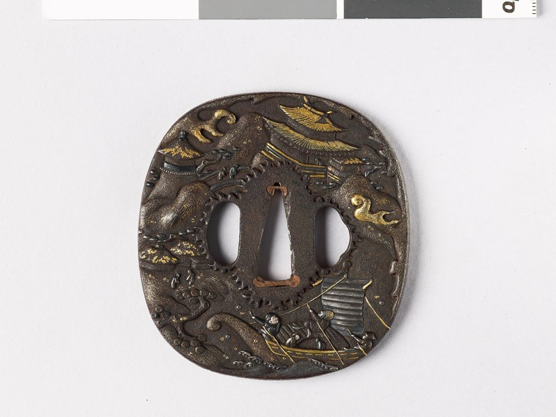 Tsuba with figures in a landscape