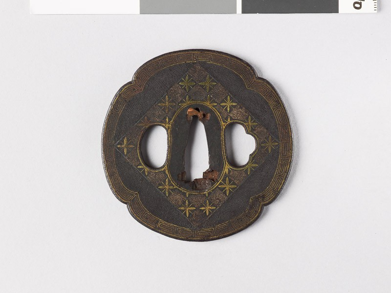 Mokkō-shaped tsuba with chequerboard (EAX.10847.a, front             )