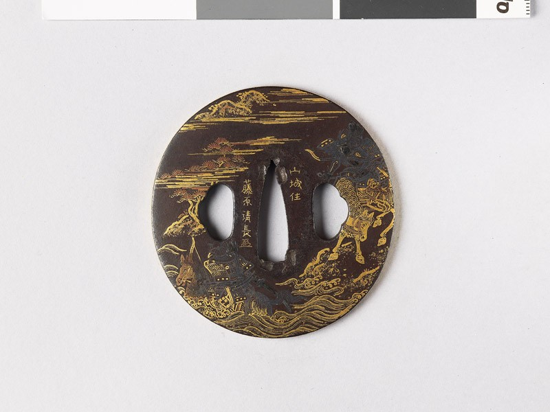 Tsuba depicting the battle of Uji river