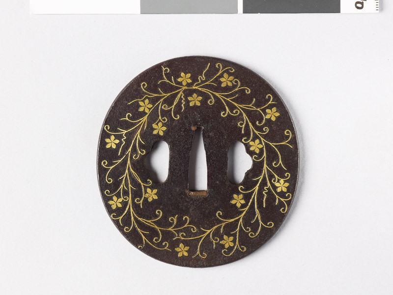 Tsuba with clematis flowers