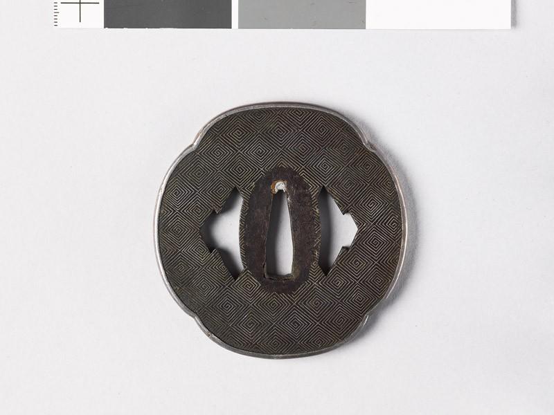 Mokkō-shaped tsuba with lozenge-fret diaper and matsukawa, or overlapping lozenges