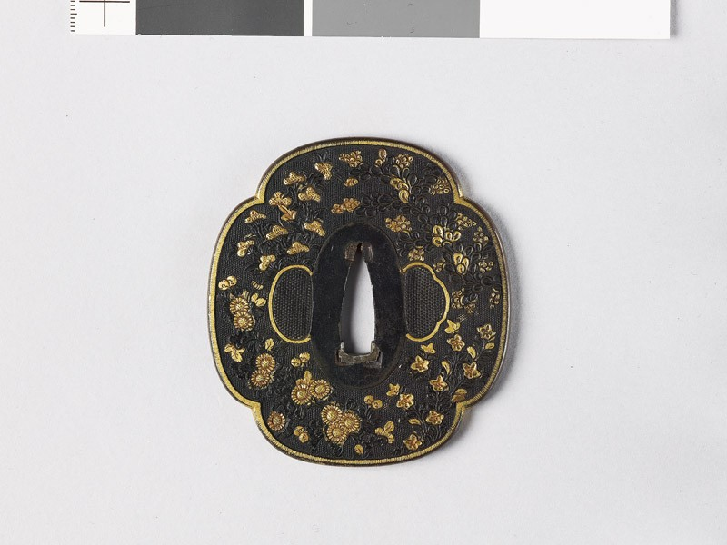 Mokkō-shaped tsuba with autumn flowers (EAX.10902, front           )