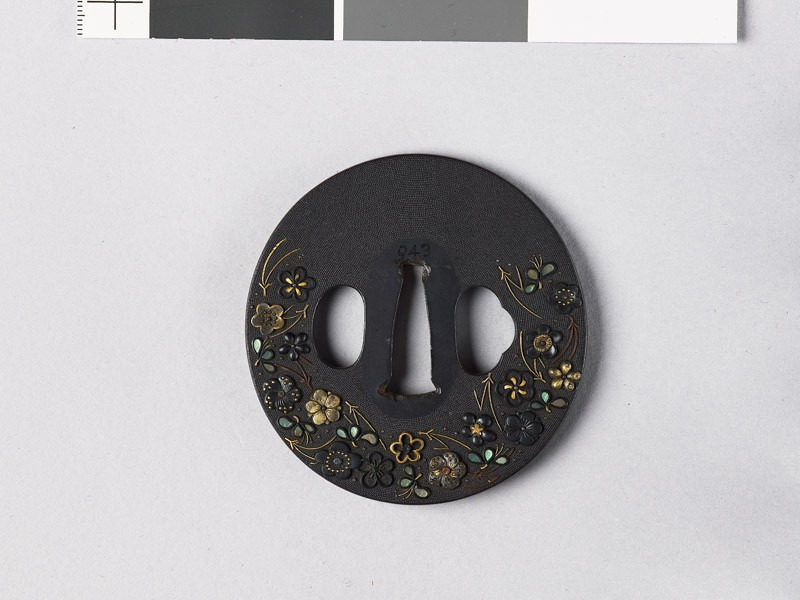 Tsuba with plum blossoms, pine needles, and dewdrops (front           )