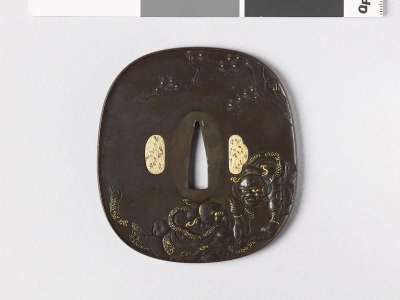 Aori-shaped tsuba depicting Ni-ō, the Two Guardian Gods, hand wrestling