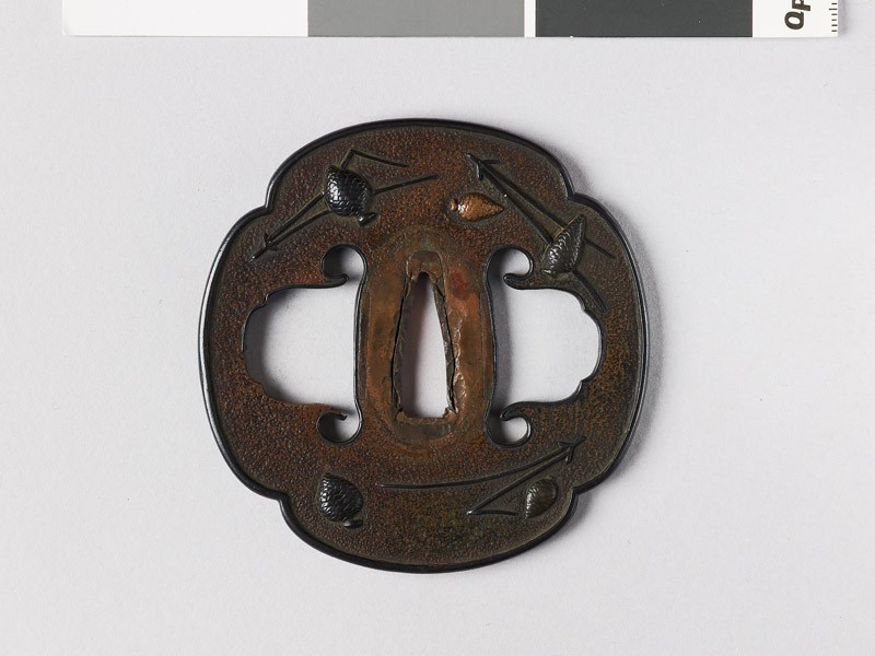 Mokkō-shaped tsuba with pine cones and needles (EAX.10958, front           )