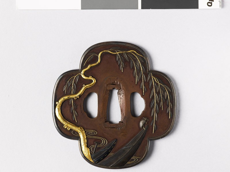 Mokkō-shaped tsuba with weeping willow and boats (EAX.10967, front           )