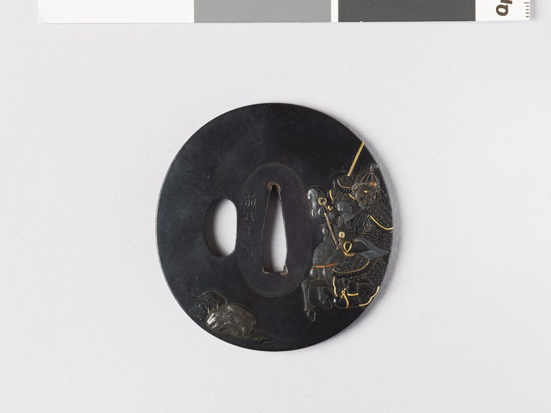 Tsuba depicting the Chinese hero Chao Yün galloping through smoke