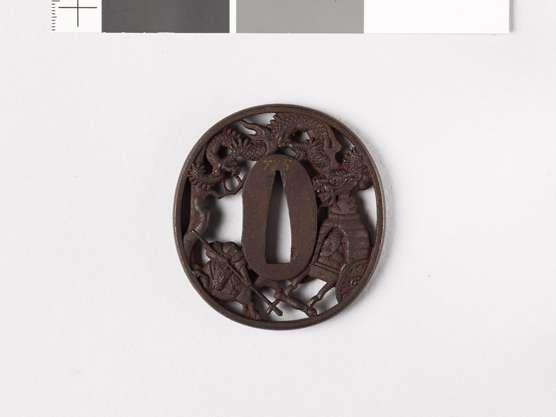Tsuba depicting a Chinese emperor, his attacker, and a dragon