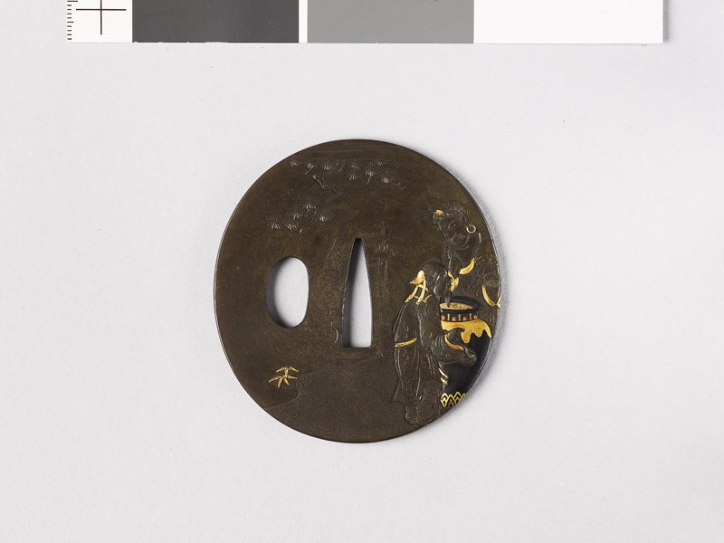 Tsuba depicting the Three Sake Tasters around a wine jar