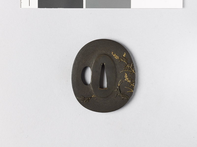 Tsuba with mantis and lespedeza (EAX.11039, front           )
