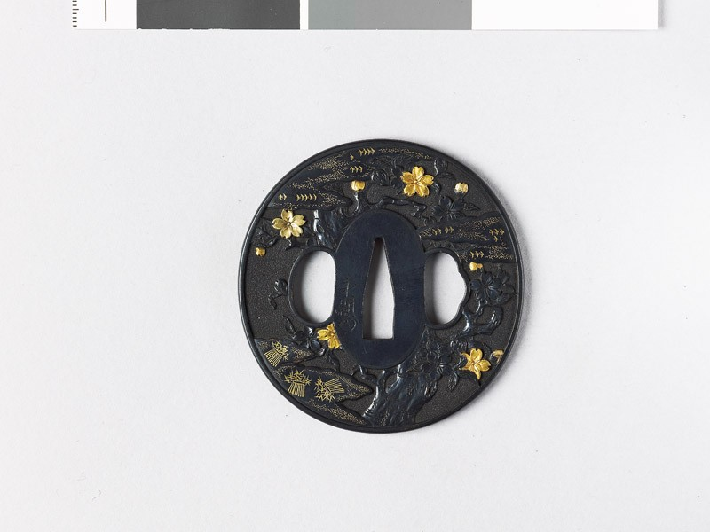 Tsuba with cherry tree and clouds (front           )