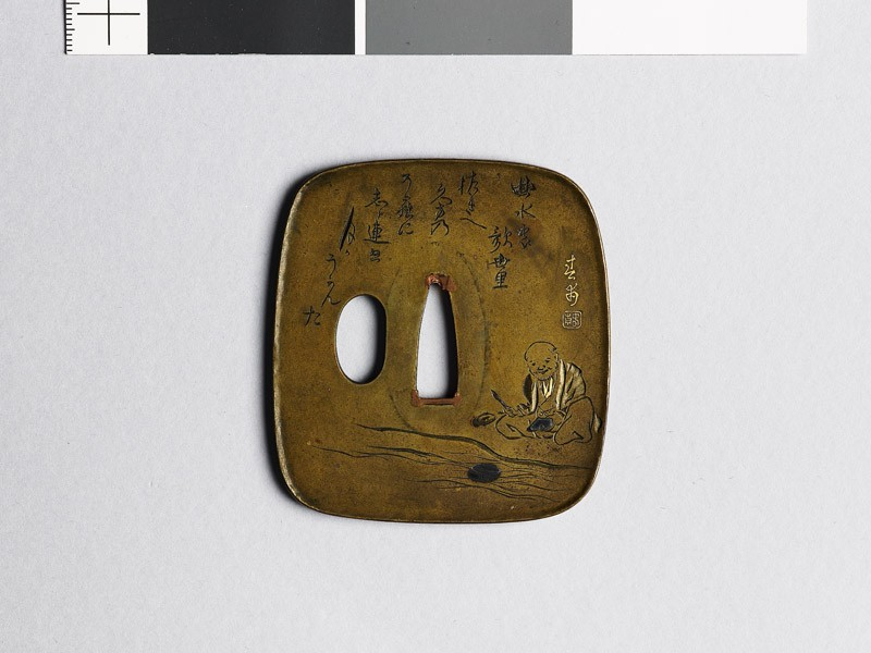 Aori-shaped tsuba depicting a man preparing to write a poem