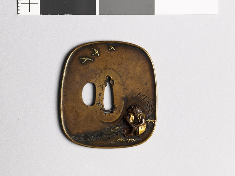 Aori-shaped tsuba depicting a fisherman on a riverbank (EAX.11057, front           )