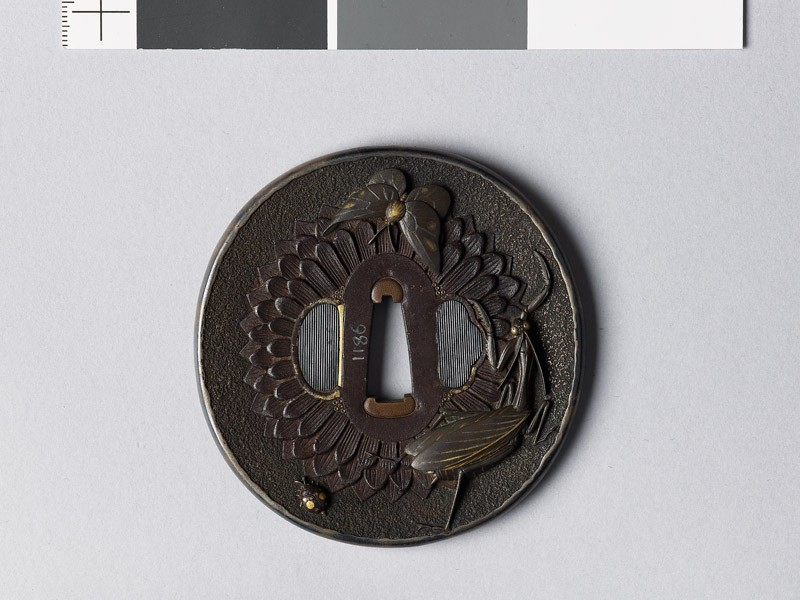 Tsuba with chrysanthemum flower and animals (front           )