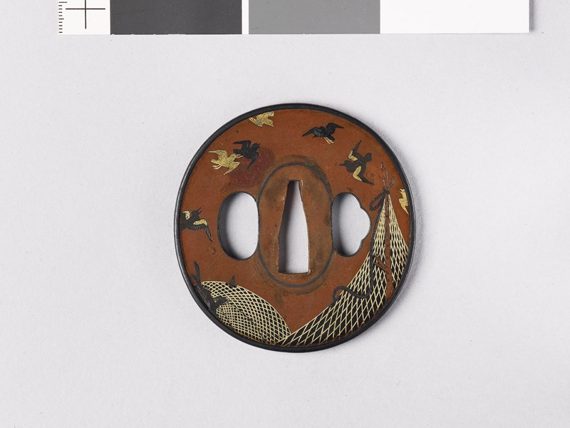 Tsuba depicting drying nets and birds (EAX.11135, front           )