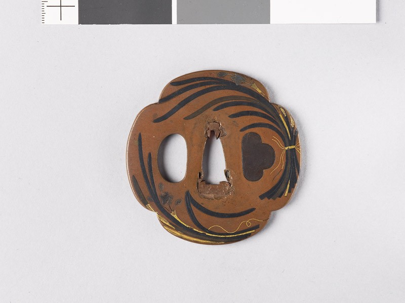 Mokkō-shaped tsuba with bunches of narcissus (EAX.11137, front           )