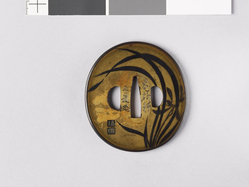 Tsuba with orchid plants