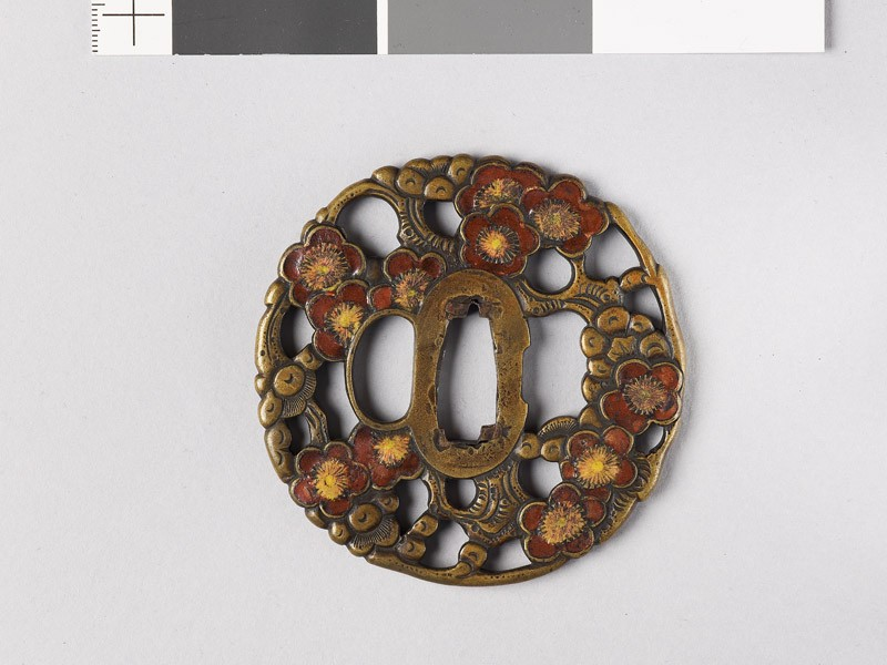 Tsuba with blossoming plum tree (front           )