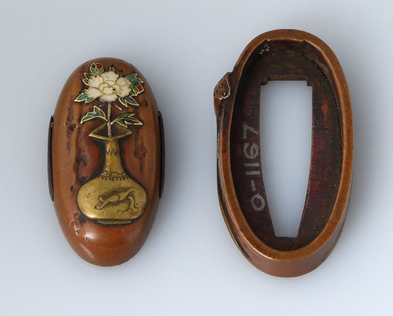 Fuchi and kashira with lotus pod and peony