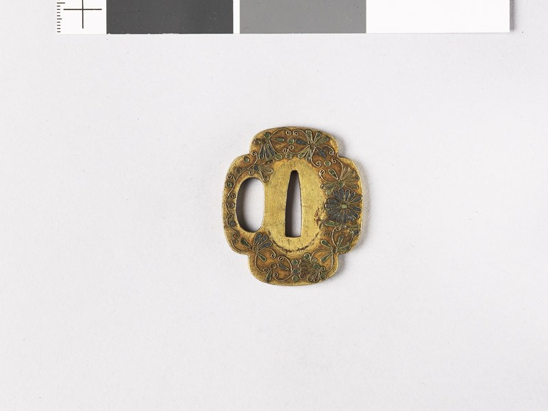 Tsuba with kiku-karakusa, or floral scrolls