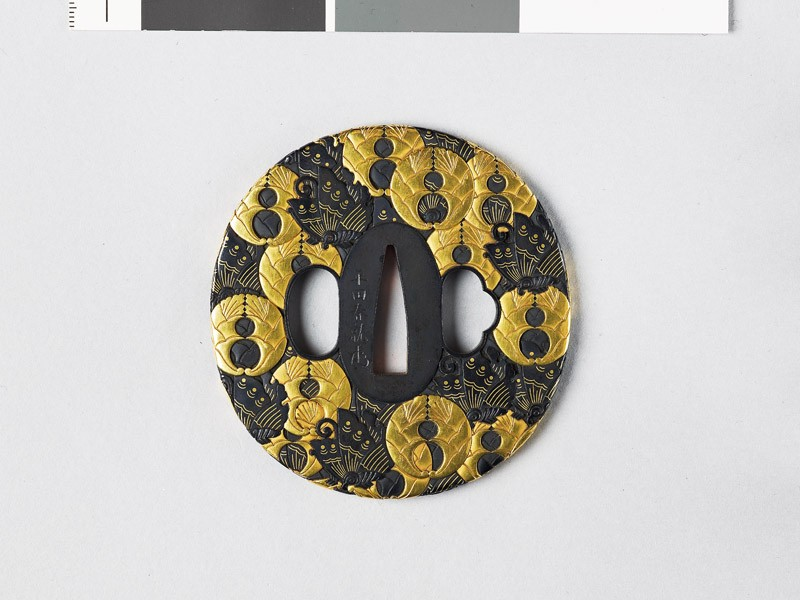 Tsuba with butterflies and mon crest of the Hori of Iida (EAX.11180, front           )