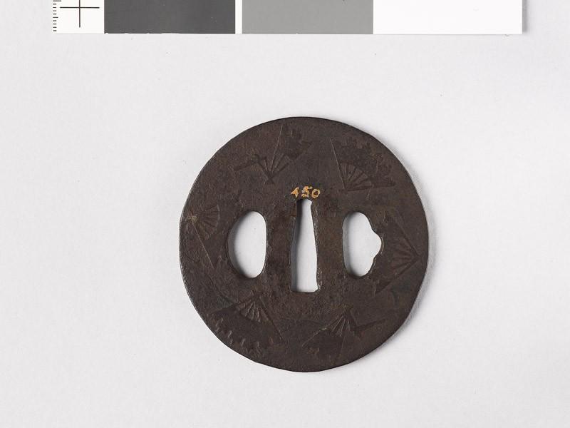 Tsuba with ware-ōgi, or broken folding fans