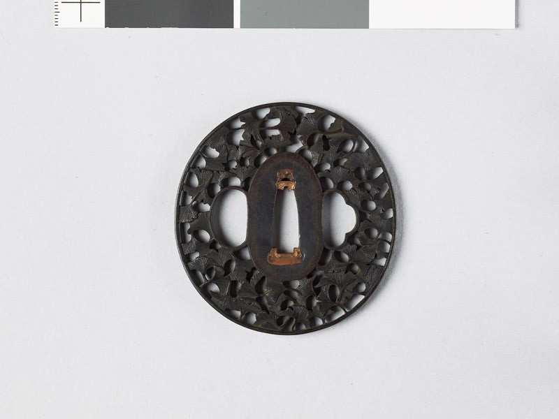 Lenticular tsuba with gingko leaves (EAX.11230, front           )