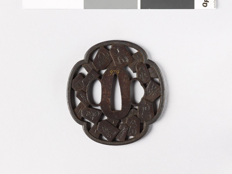 Mokkō-shaped tsuba with chess pieces