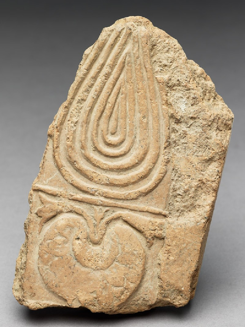 Tile fragment with lotus