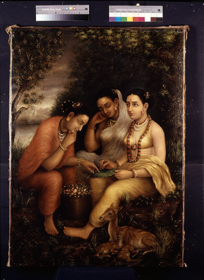 Shakuntala writing a love letter on a lotus leaf (EAX.2502, front          )