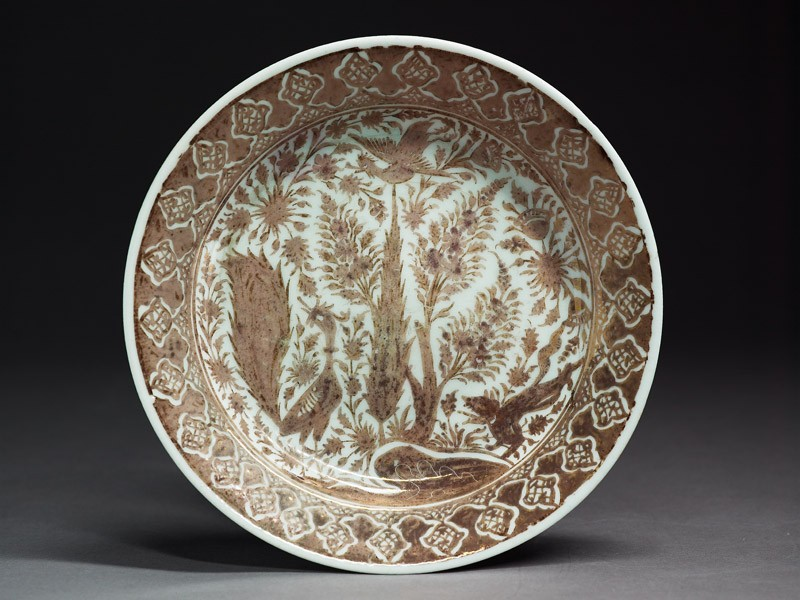 Plate with birds and trees