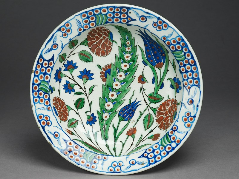 Dish with leaf and flowers (EAX.3260, top          )