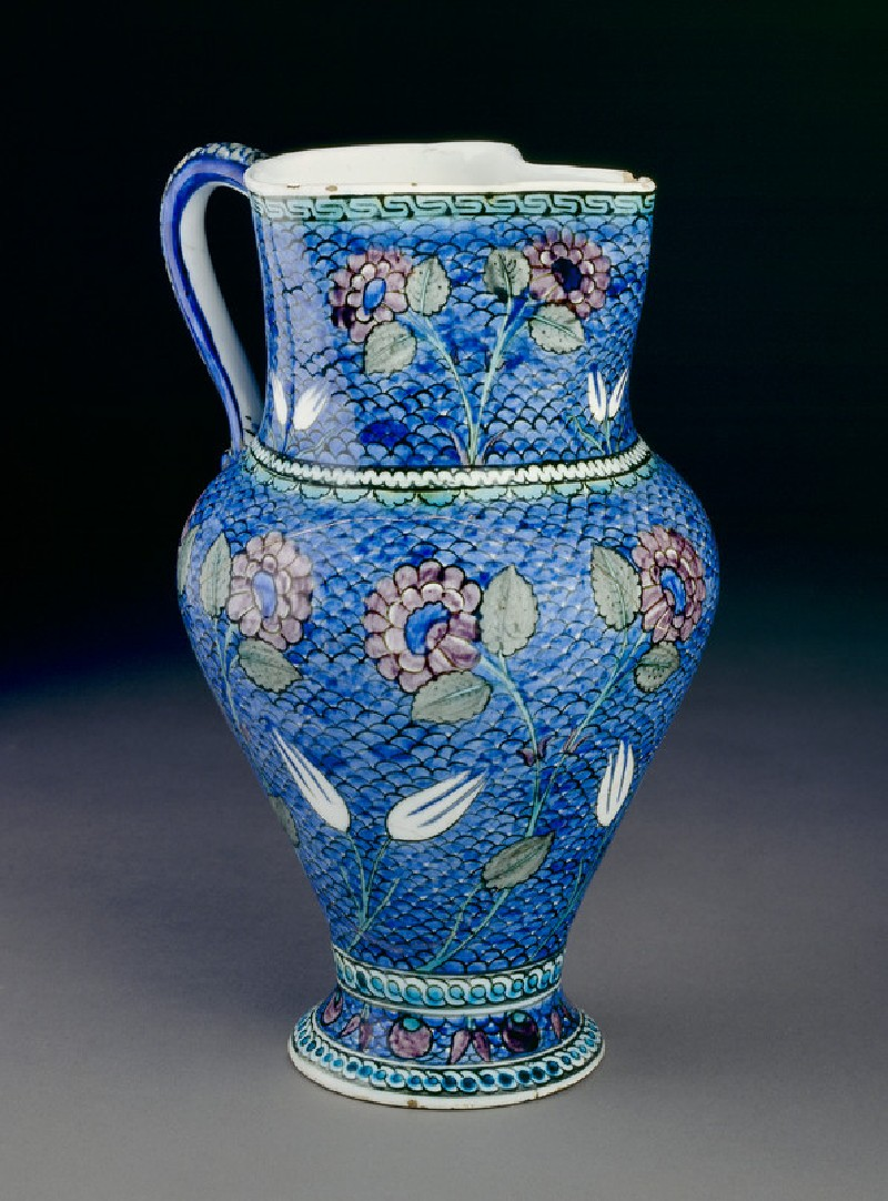 Jug with flowers against a fish-scale background (EAX.3272)