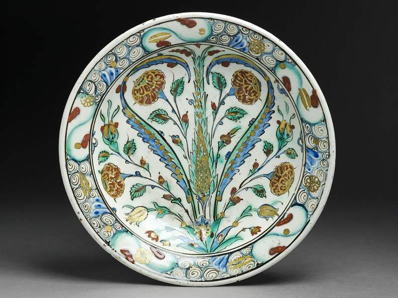 Dish with roses and tulips (EAX.3273, top          )