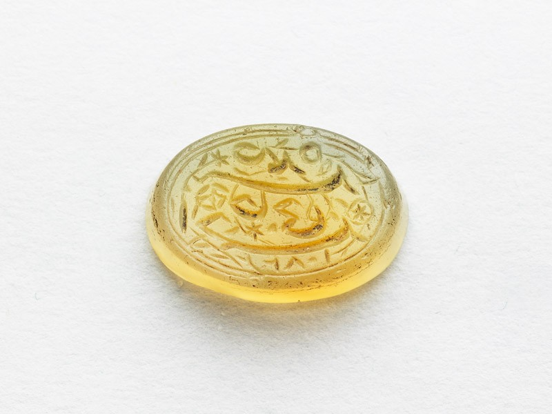 Oval bezel seal with nasta'liq inscription and floral decoration (EAX.3305, front          )