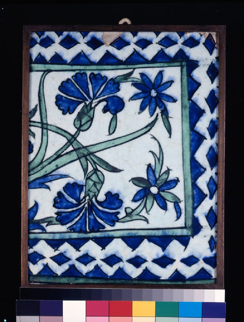 Frieze tile with carnations and irises (front          )