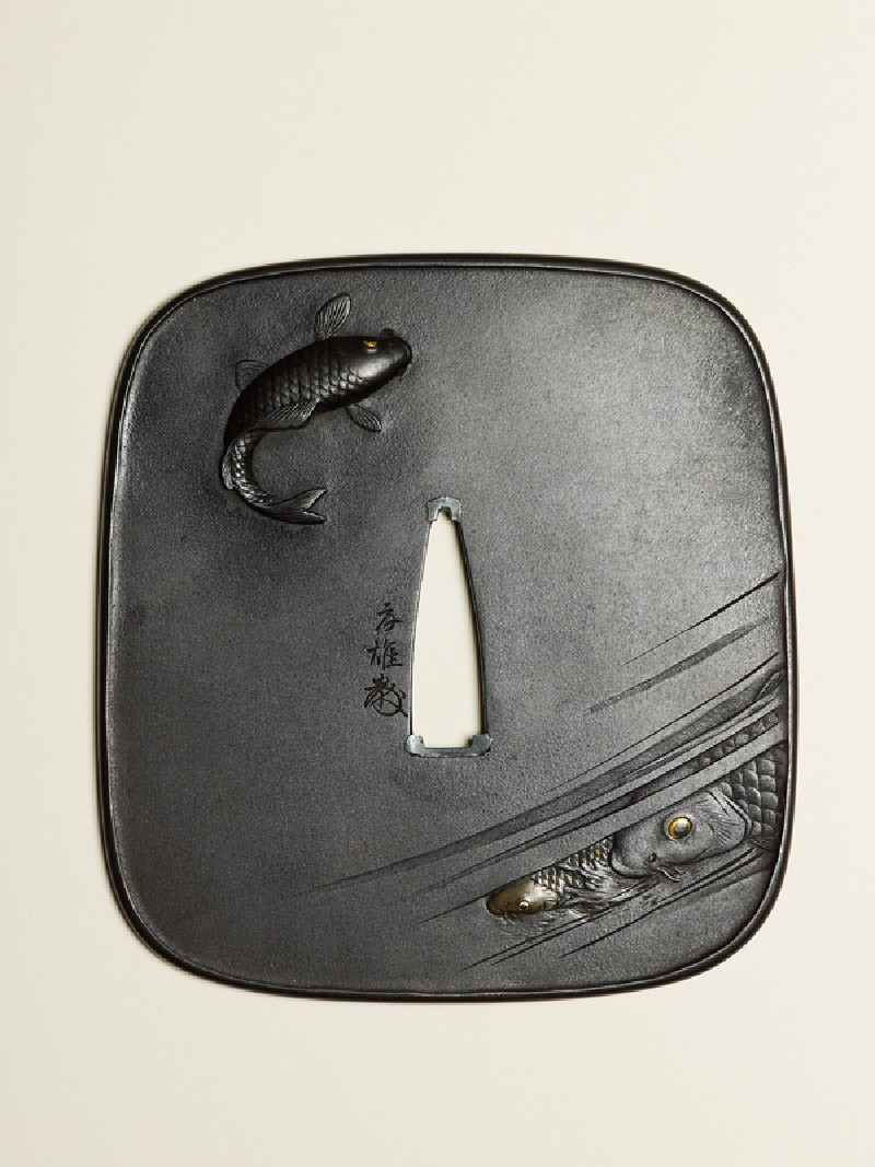 Tsuba with swimming carp