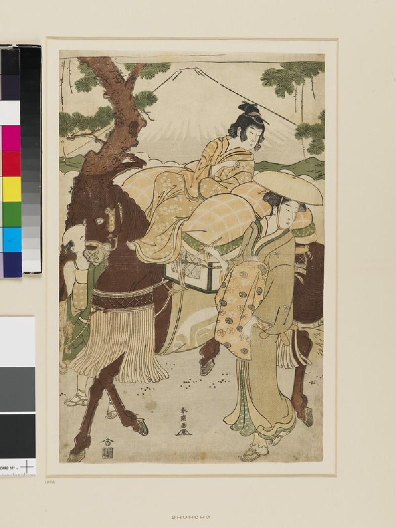 A young boy riding a horse led by a servant, a woman walks alongside