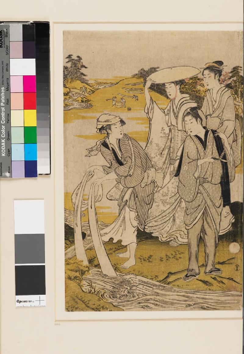 Women laundering at the Jewel River of Chōfu