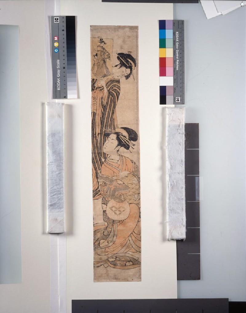 Seated courtesan being shown an ukiyo-e print (EAX.4098, front          )