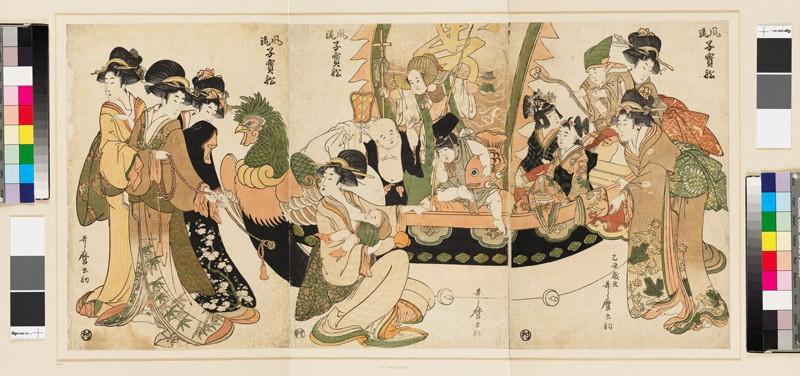 Children playing the seven gods of good fortune in a New Year's play (EAX.4125, front          )