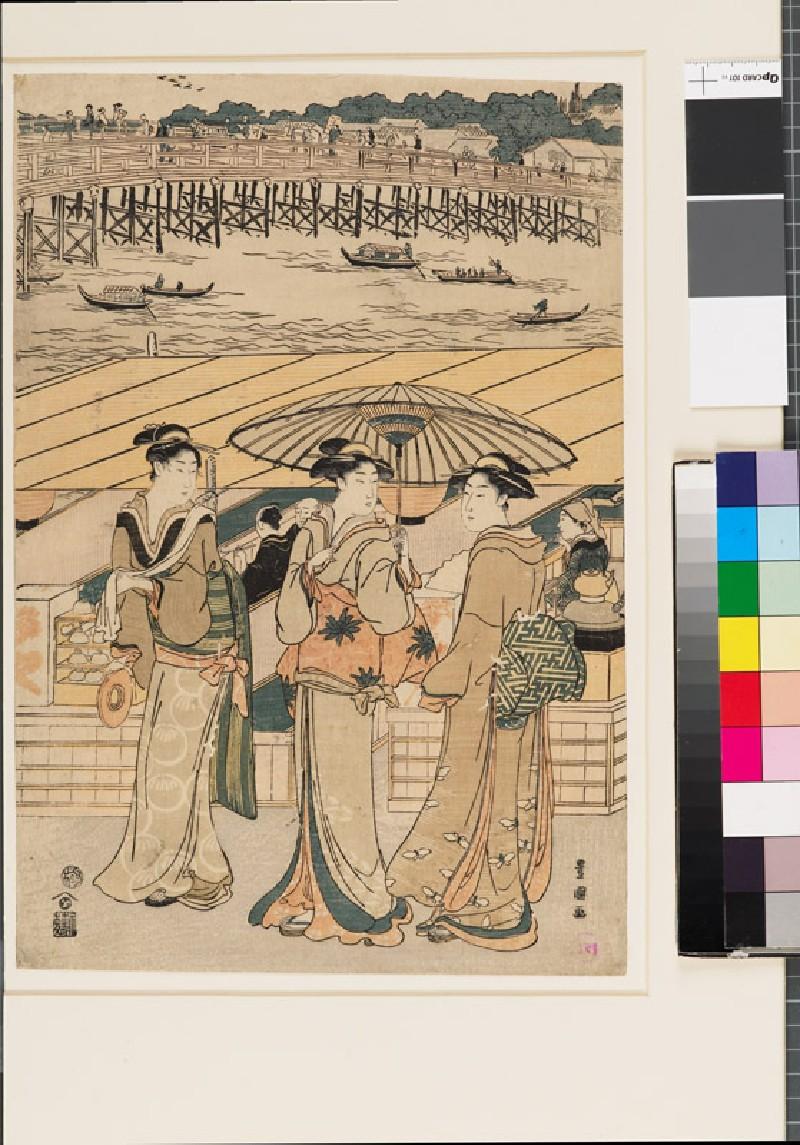 Three women in front of Ryōgoku bridge